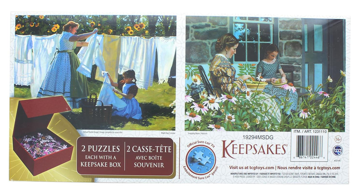 Set of 2 Keepsakes 1000 Piece Jigsaw Puzzles | Wash Day / Snapping Beans