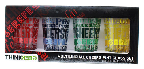 Multilingual Cheers Pint Glass: Set of 4