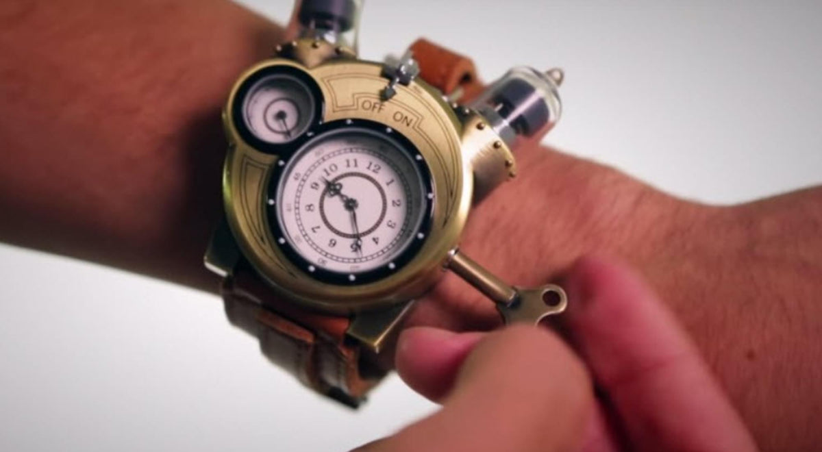 Steampunk Tesla Analog Watch With Metal Findings And Leather Strap