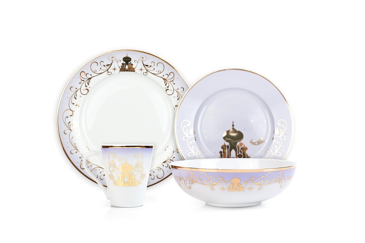 Disney Princess 16-Piece Dinnerware Set | Cinderella, Jasmine, Ariel, Belle
