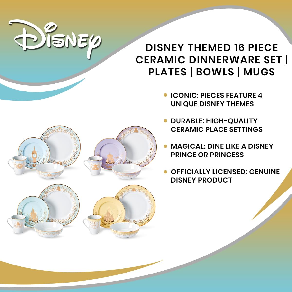 Disney Themed 16 Piece Ceramic Dinnerware Set Collection 1 | Plates | Bowls | Mugs