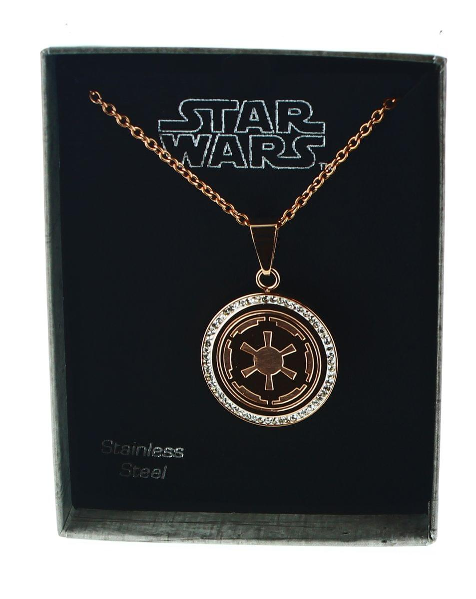 Star Wars Rose Gold PVD Plated Galactic Empire Symbol Pendant