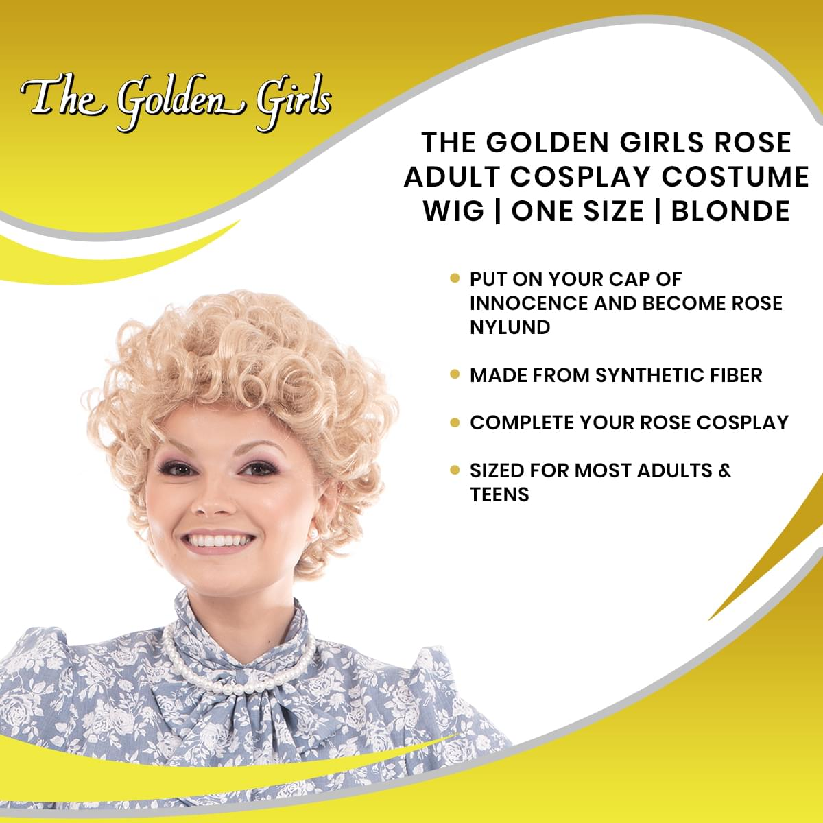 The Golden Girls Officially Licensed Rose Costume Cosplay Wig
