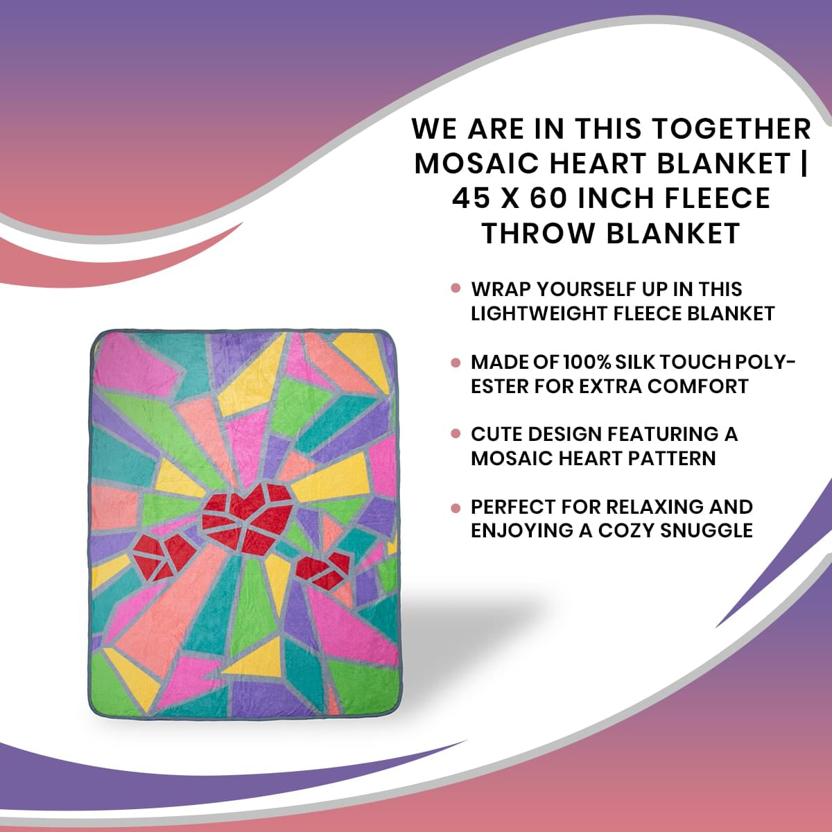 2020 Sidewalk Chalk Inspired Mosaic Heart Throw Blanket | 45 x 60 Inches