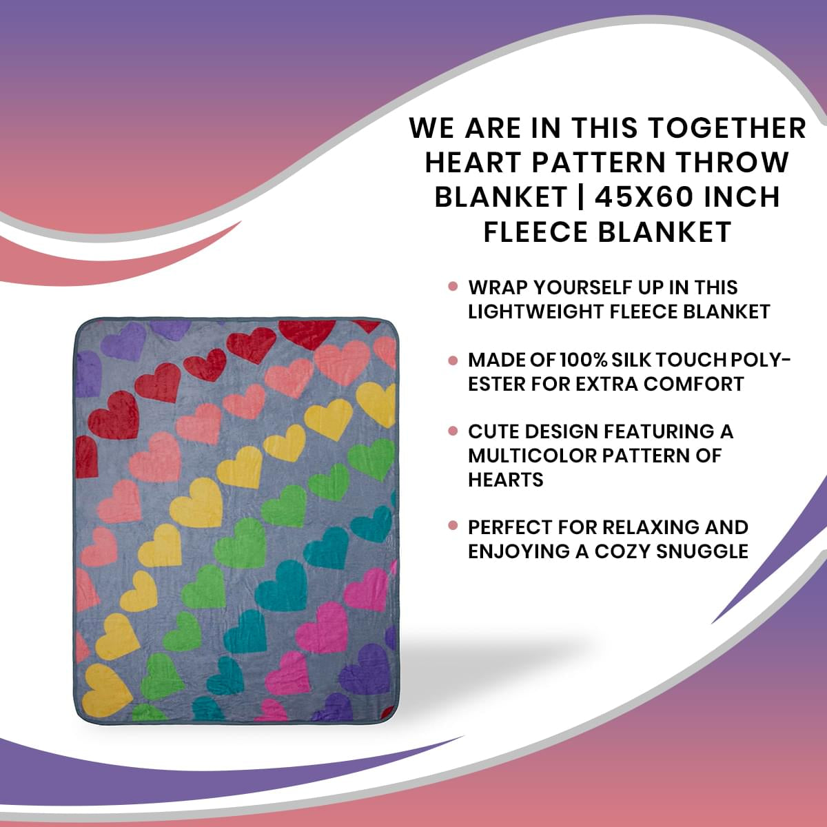 We Are In This Together Rainbow Window Hearts Throw Blanket | 45 x 60 Inches