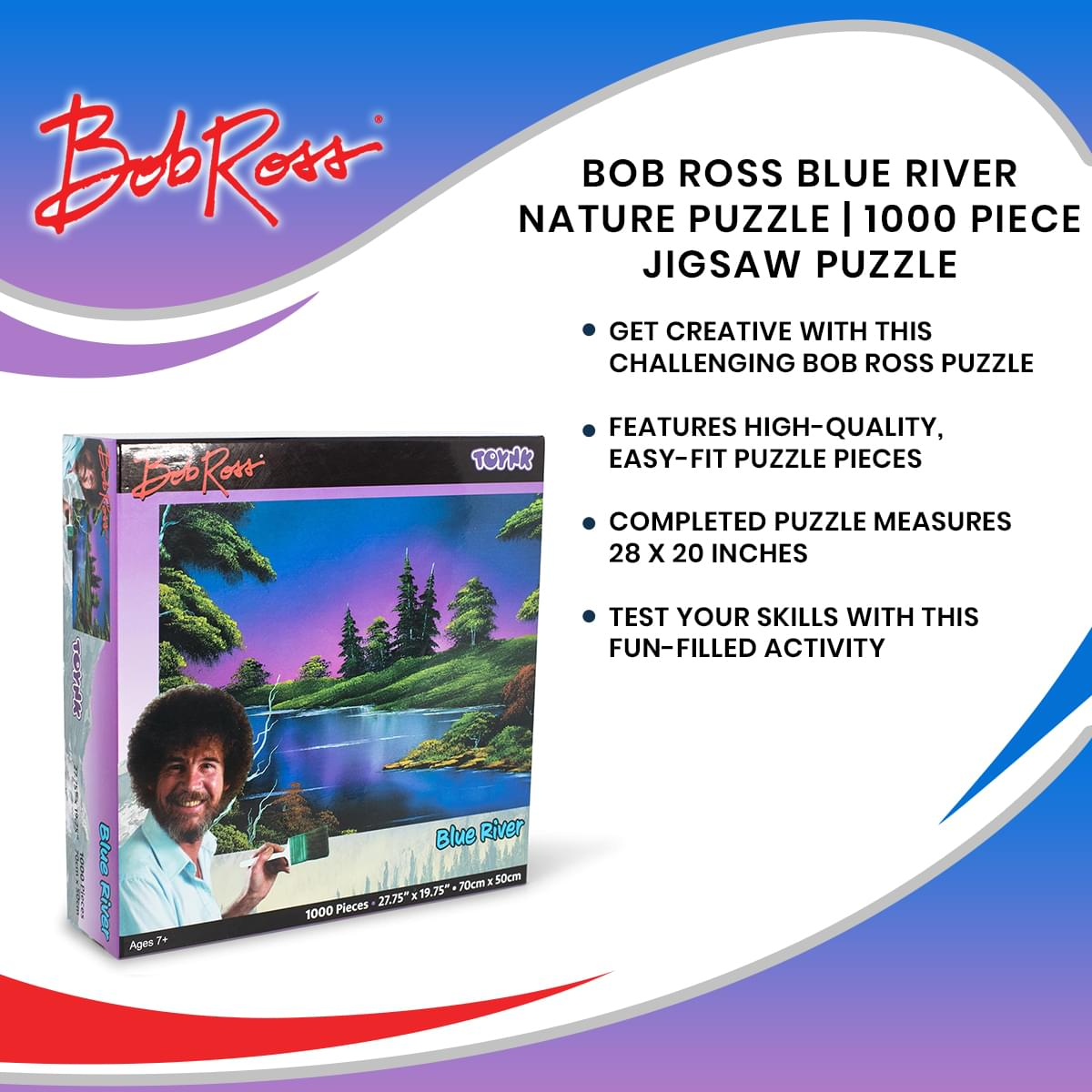 28 x 20 Inches Forest Lake Scenery 1000 Piece Jigsaw Puzzle Toy Bob Ross Blue River Nature Puzzle for Adults and Kids Interactive Brain Teaser for Family Game Night