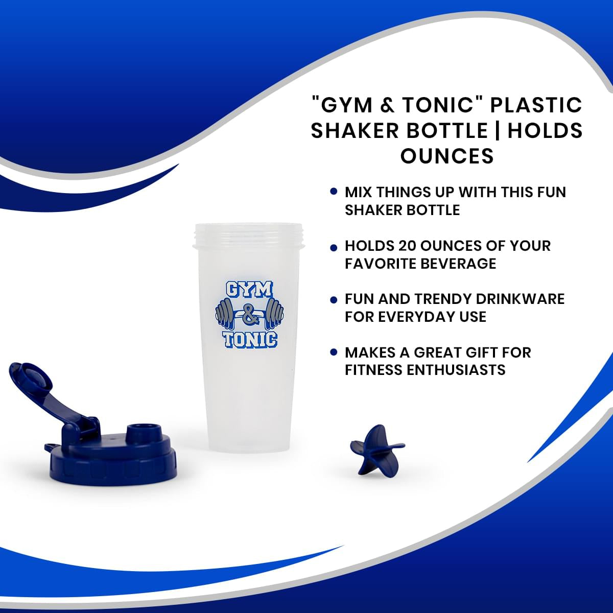 """Gym & Tonic"" Plastic Shaker Bottle 