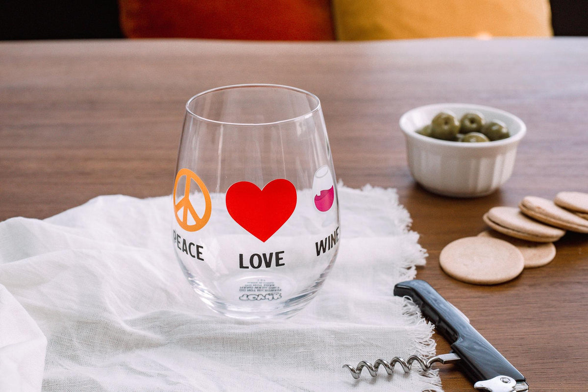 """Peace Love Wine"" Oversized Stemless Wine Glass 