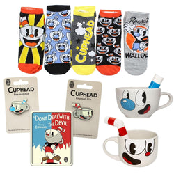 Cuphead Ultimate Fan Bundle With Fleece Blanket, Molded Cup, Pins & More