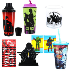DC Comics 8 Piece Gift Set with Tumbler, Travel Cup, Carnival Cup and More