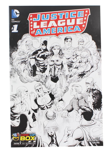 Justice League of America #1 Comic (Comic Con Box B&W Cover)