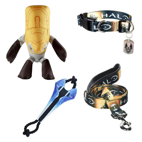 Halo Dog Gift Set: Leash, Collar, Tugger Toy, & Plush Chew Toy
