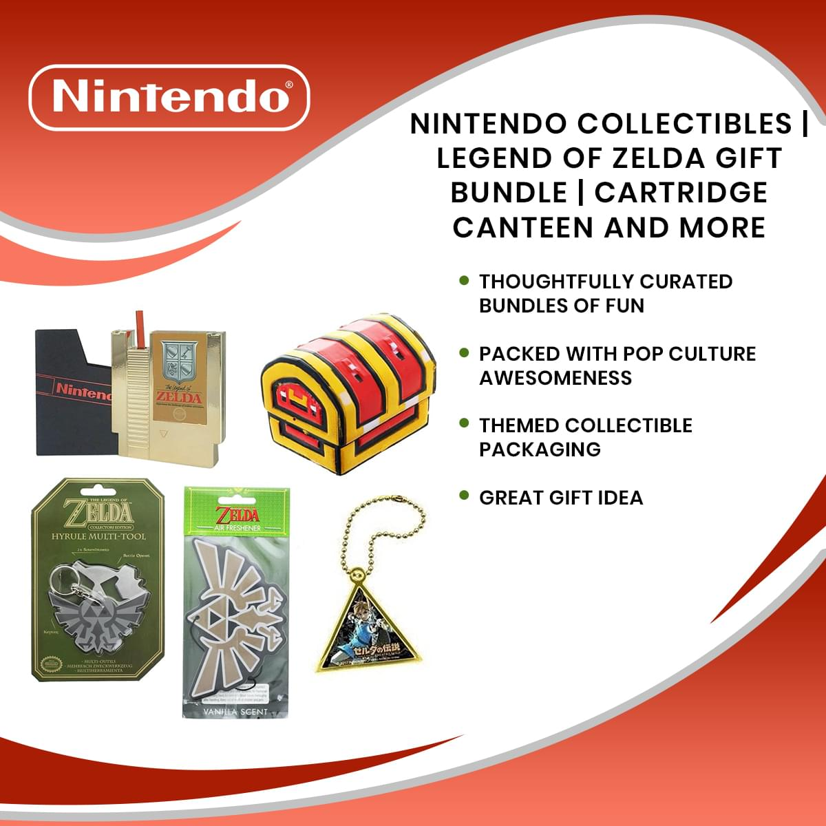 Nintendo Collectibles | Legend of Zelda Gift Bundle | Cartridge Canteen and More