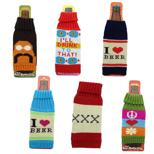 Retro Beer Bottle Cozy Sleeves Set of 6