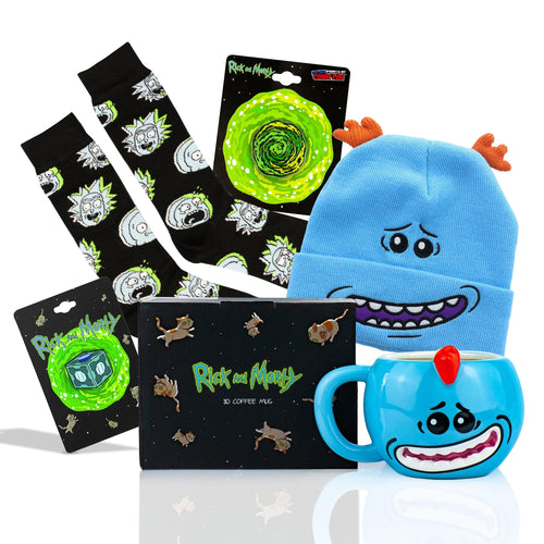Rick And Morty Collector's  Bundle Includes Sock, Enamel Pins, Mug and Beanie