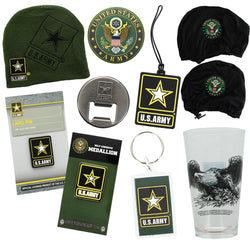 U.S. Army 9 Piece Gift Set with Lapel Pin, Keychain, Luggage Tag, and More