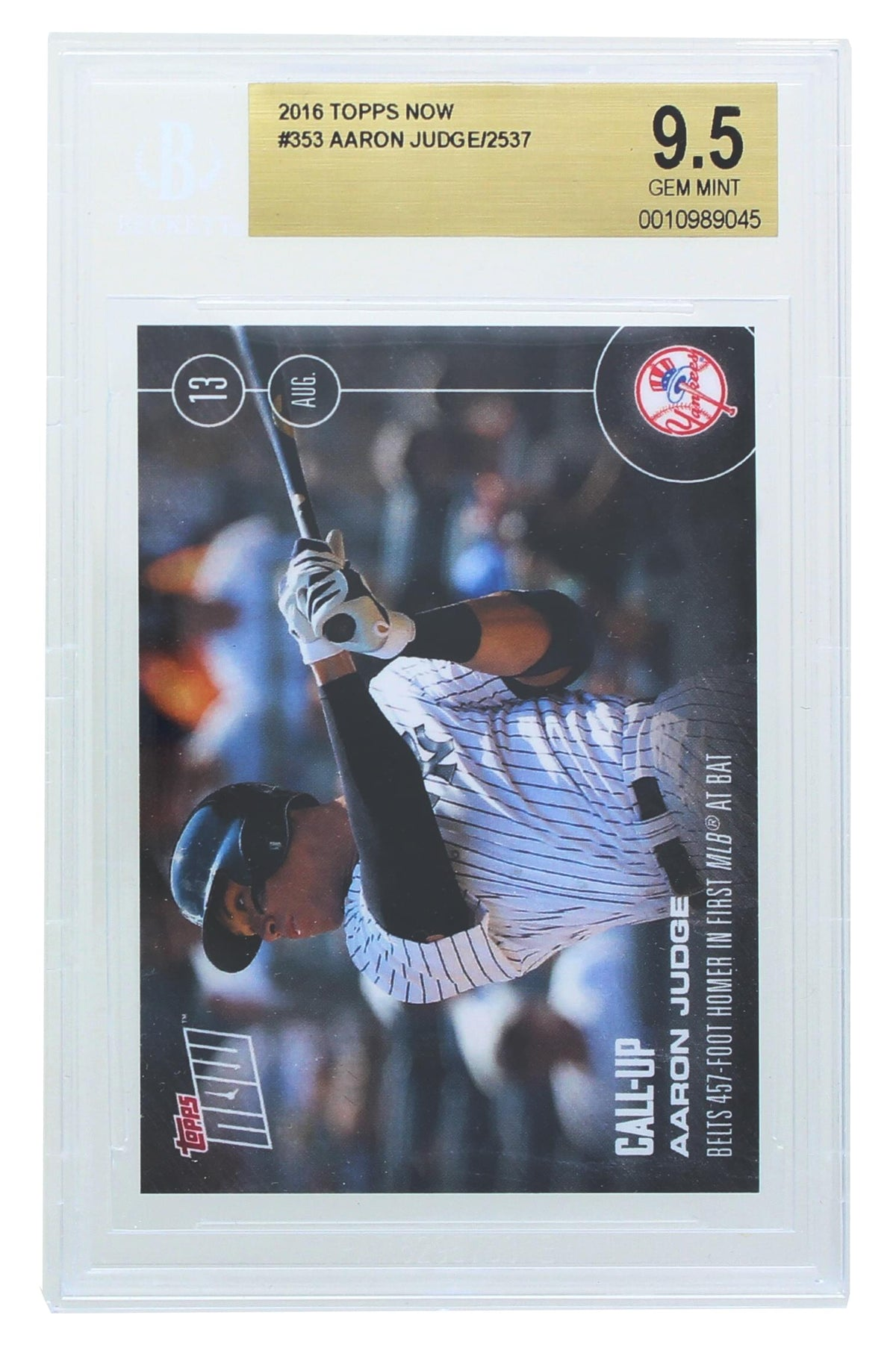 Aaron Judge New York Yankees 2016 Topps Now Rookie Card #356 BGS 9.5