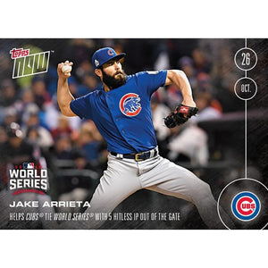 Topps NOW 5 Hitless IP Chicago Cubs Jake Arrieta Card #632