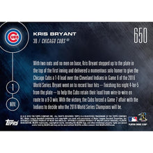 Load image into Gallery viewer, MLB Chicago Cubs Kris Bryant #650 2016 Topps NOW Trading Card