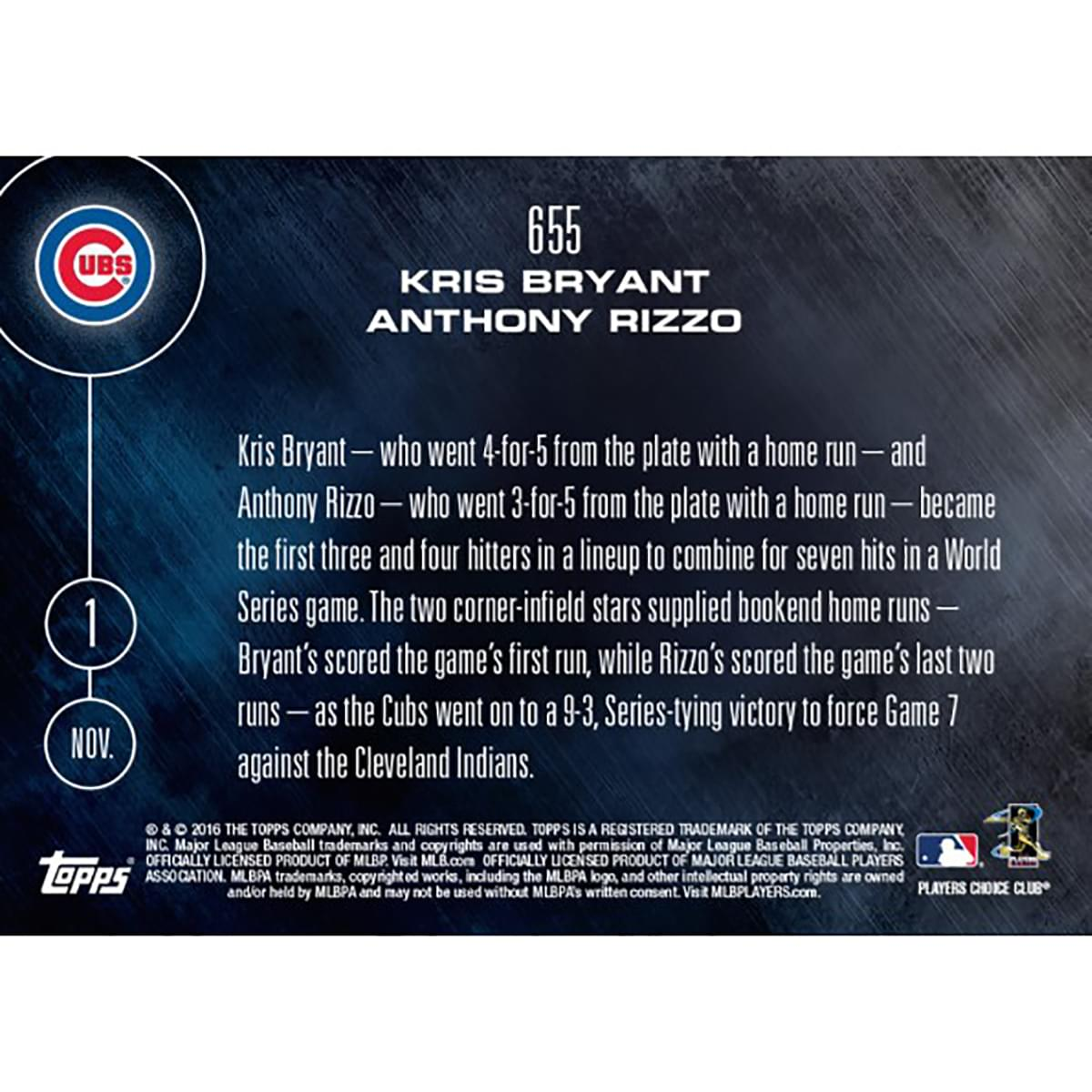 MLB Chicago Cubs Kris Bryant/ Anthony Rizzo #655 2016 Topps NOW Trading Card