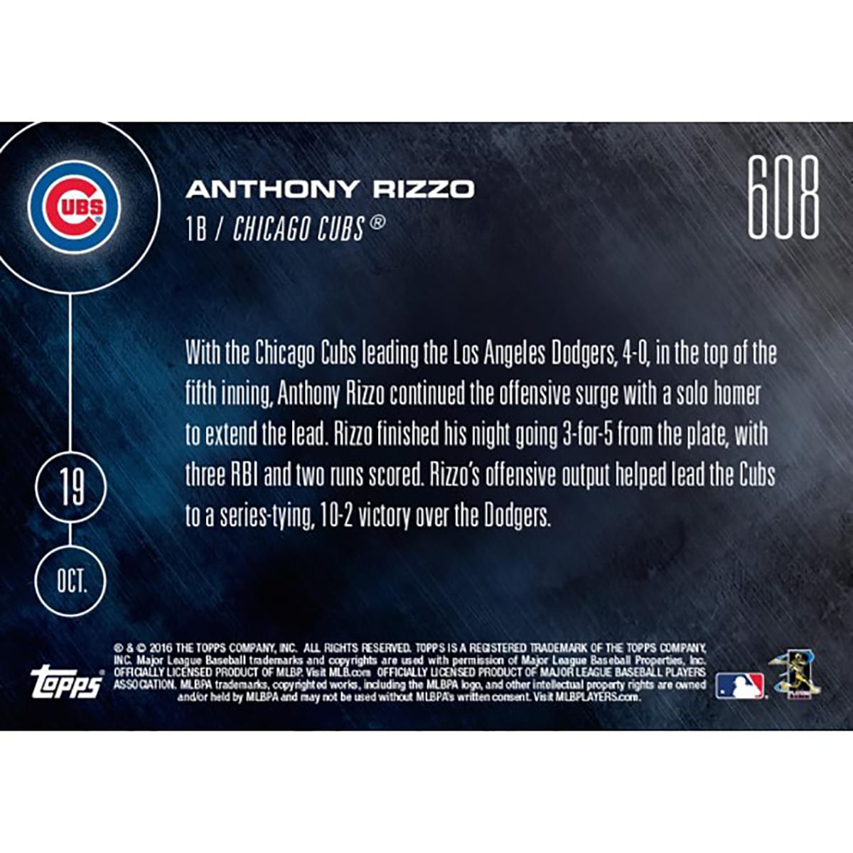 MLB Chicago Cubs Anthony Rizzo #608 2016 Topps NOW Trading Card