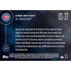 Topps Now 2016 NL MVP Chicago Cubs Kris Bryant Card #OS-32