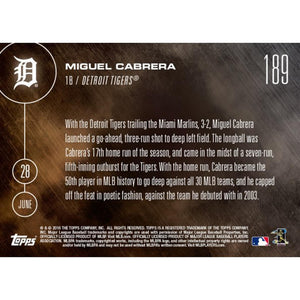 Topps NOW Detroit Tigers Miguel Cabrera MLB 2016 Card 189 Trading Card