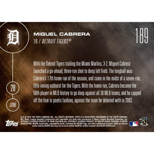 Detroit Tigers, Miguel Cabrera MLB 2016 Topps NOW Card 189