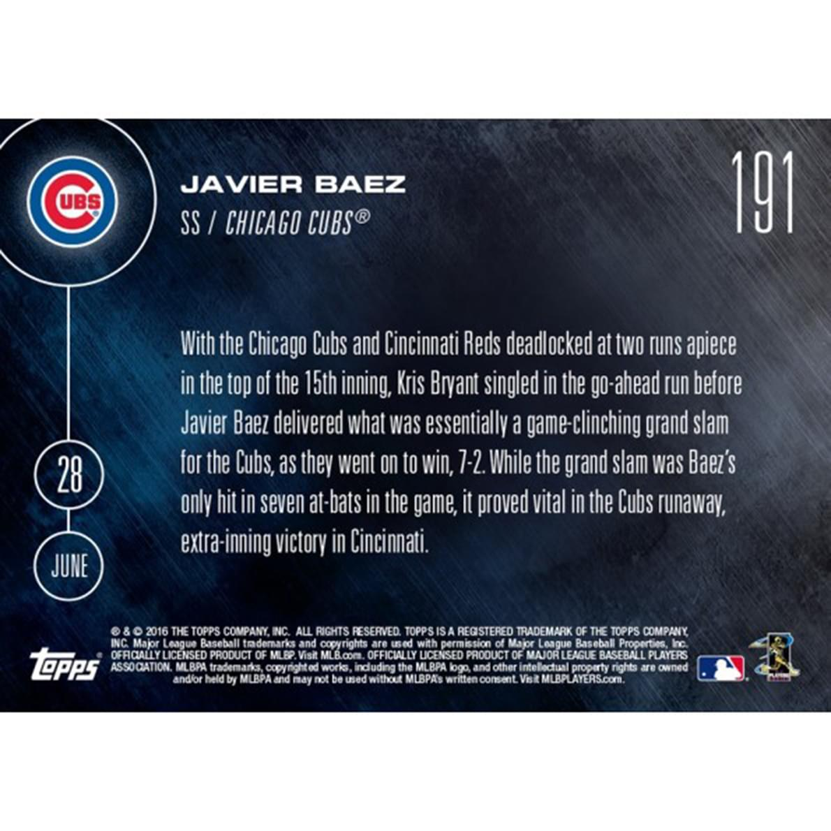 MLB 2016 Topps NOW Card 191 Chicago Cubs Javier Baez Trading Card