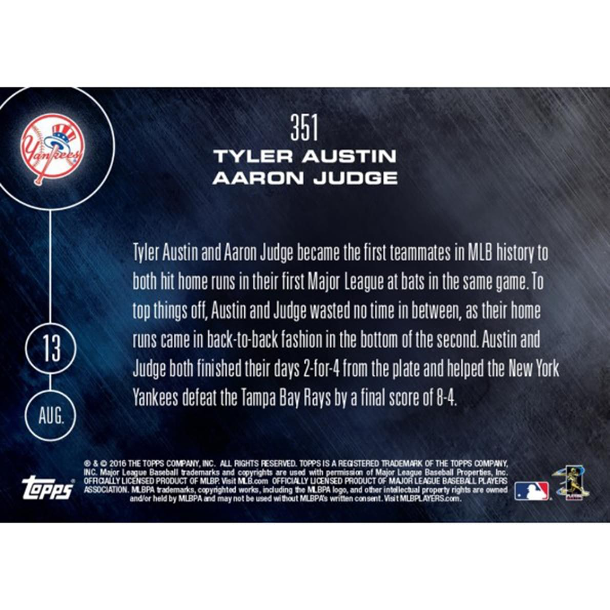 MLB Topps NOW Card 351NY Yankees Tyler Austin/Aaron Judge Trading Card
