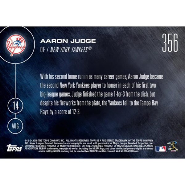 NY Yankees, Aaron Judge (Call-Up) MLB Topps NOW Card 356
