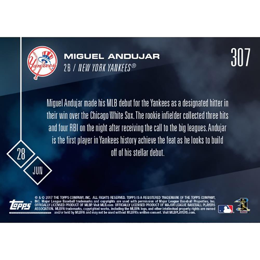 MLB NY Yankees Miguel Andujar #307 2017 Topps Now Trading Card