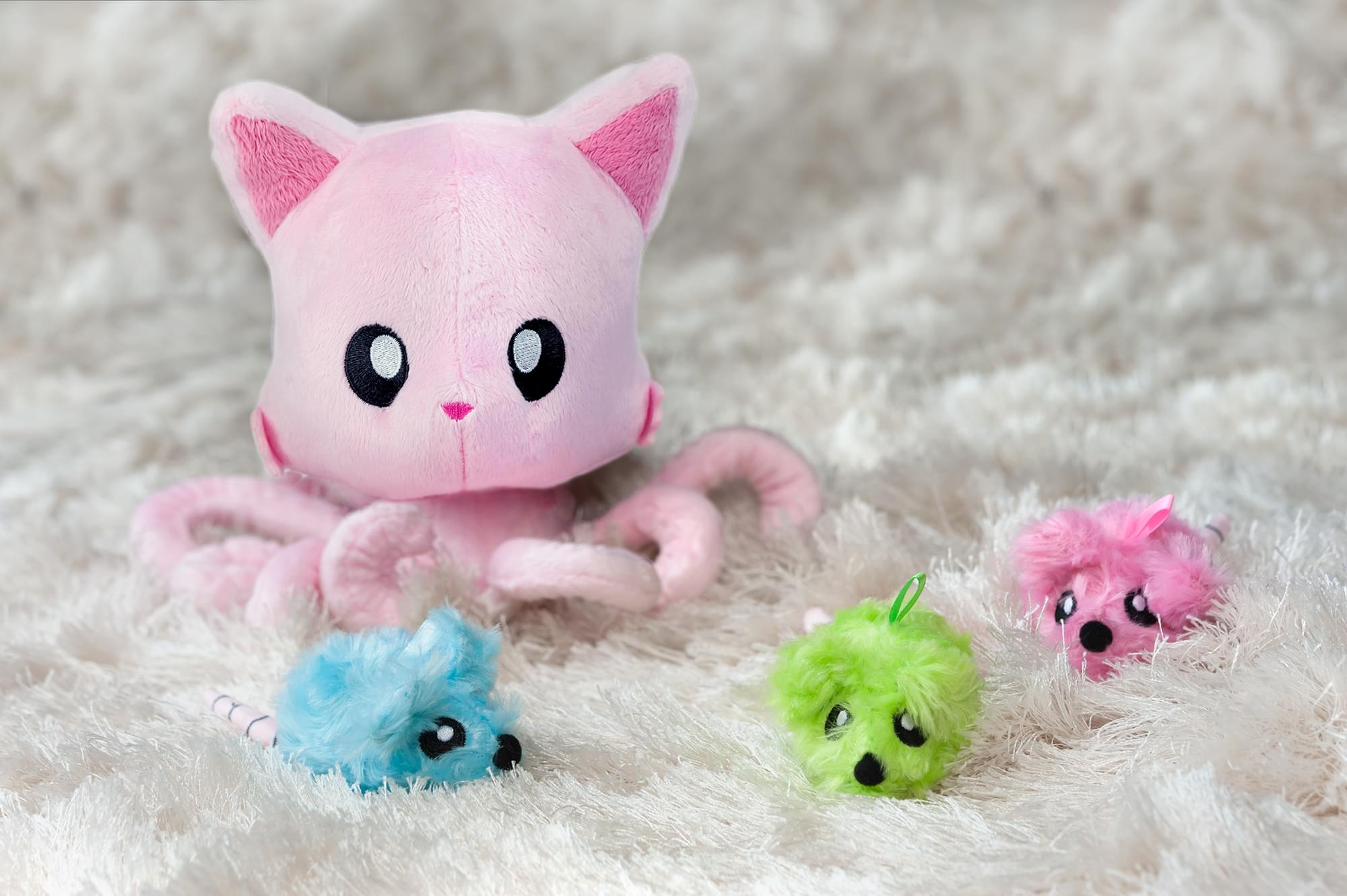 Tentacle Kitty 5 Inch Cotton Candy Mice Plush | Unscented 3 Pack