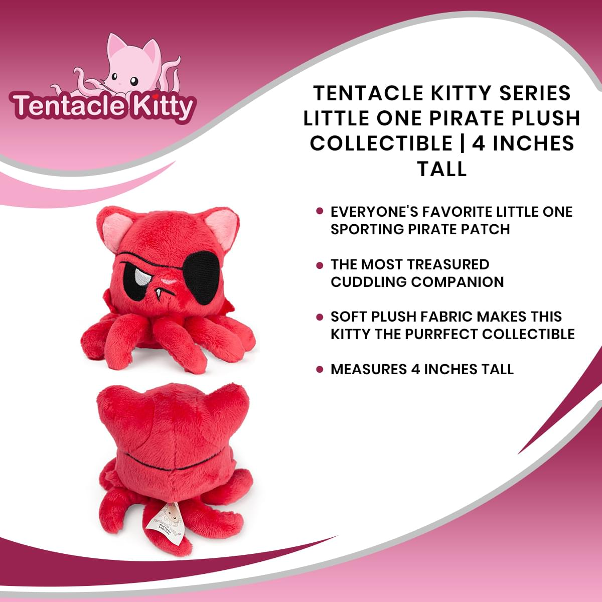 Tentacle Kitty Series Little One Pirate Plush Collectible | 4 Inches Tall