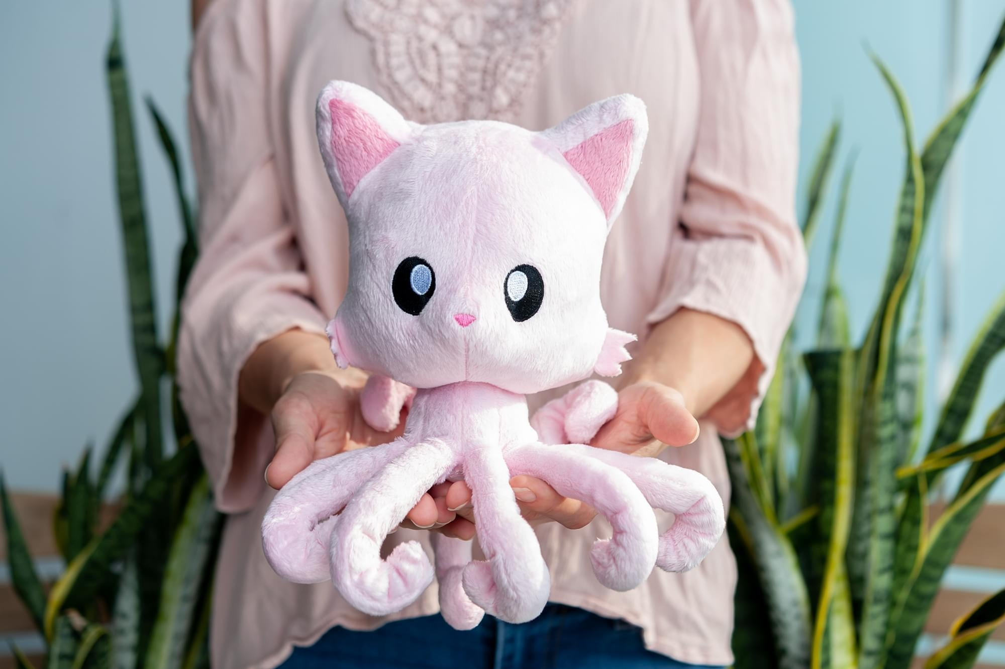 Tentacle Kitty Cotton Candy Scented Pink Plush Collectible | Measures 8 Inches Tall