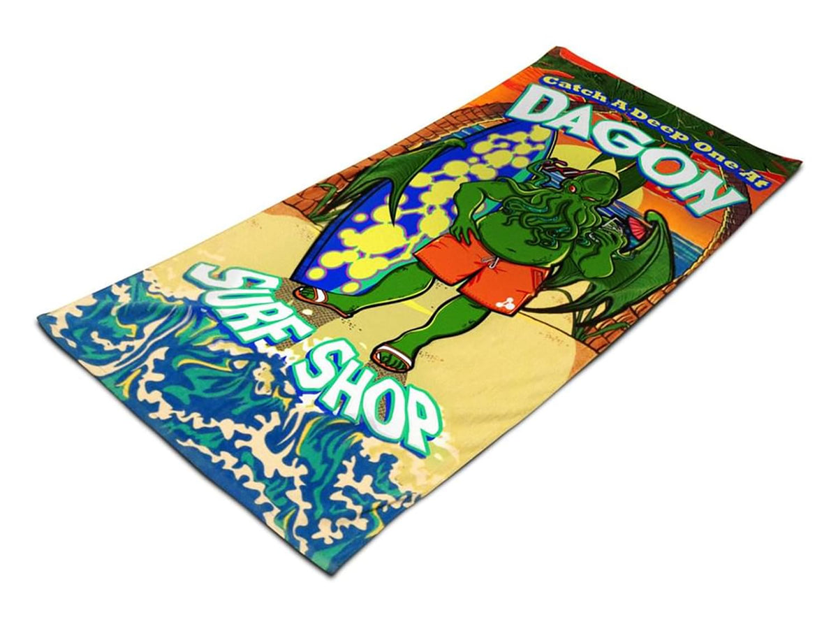 "Cthulhu Dagon Surf Shop 30"" x 70"" Beach Towel"