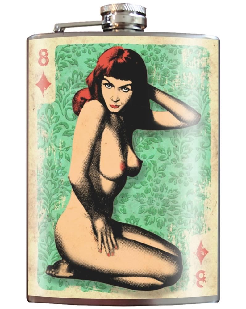 Trixie & Milo Stainless Steel 8oz Flask: Naughty 8 Of Diamonds Pin Up