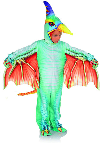 Green Pteradactyl Printed Child Costume Jumpsuit