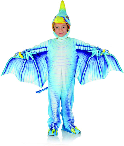 Blue Pteradactyl Printed Child Costume Jumpsuit