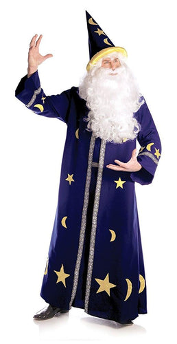 Spell Master Blue Wizard Open Front Tunic Costume Robe Adult