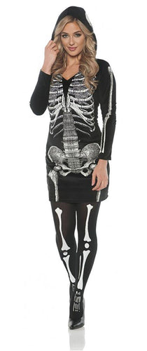 Women's Skeletal Hoodie Dress Costume