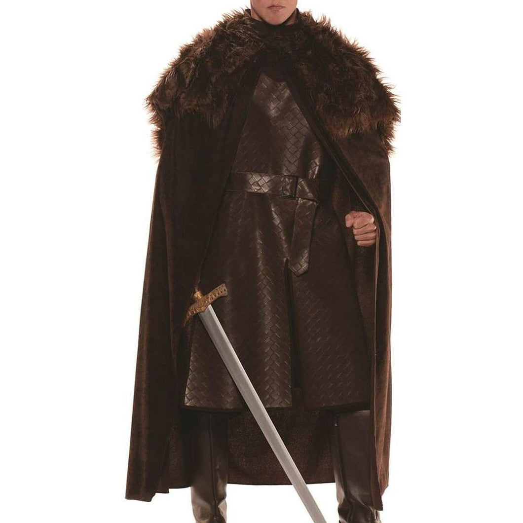 Faux Leather Print Costume Cape Male One Size
