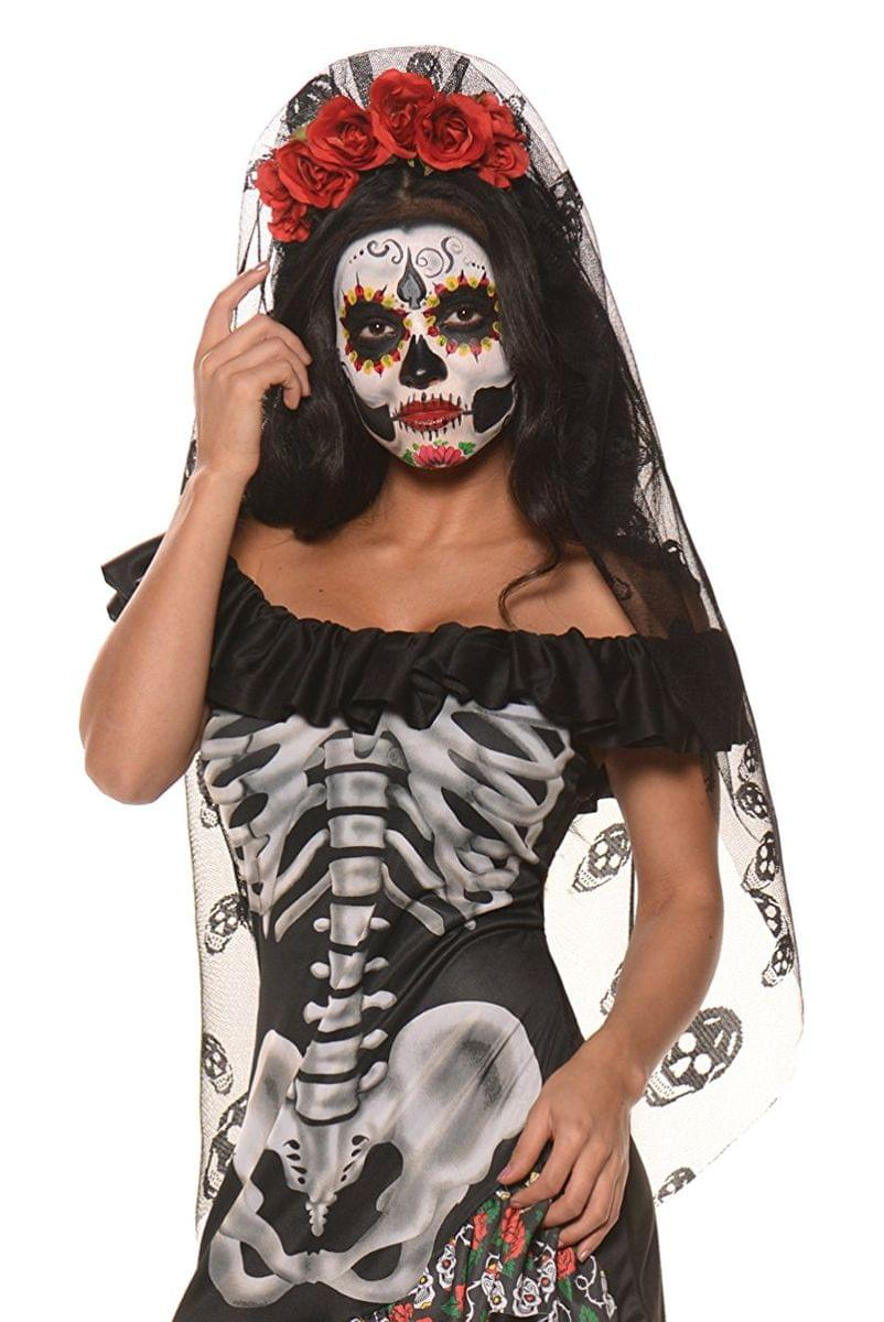 Day of the Dead Mantia Costume Headband with Veil
