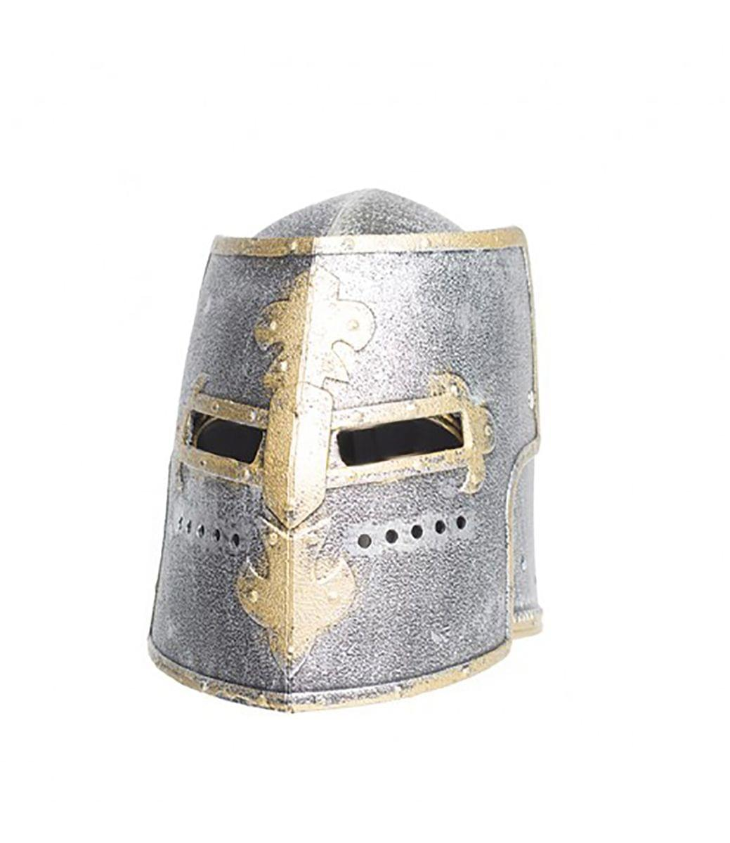 Knight Box Helmet Silver Adult Costume OS