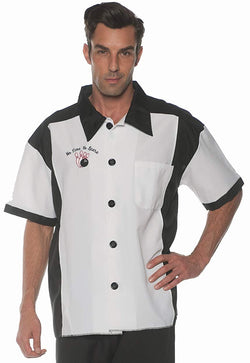 Men's Retro Bowling Costume Shirt - White - One Size