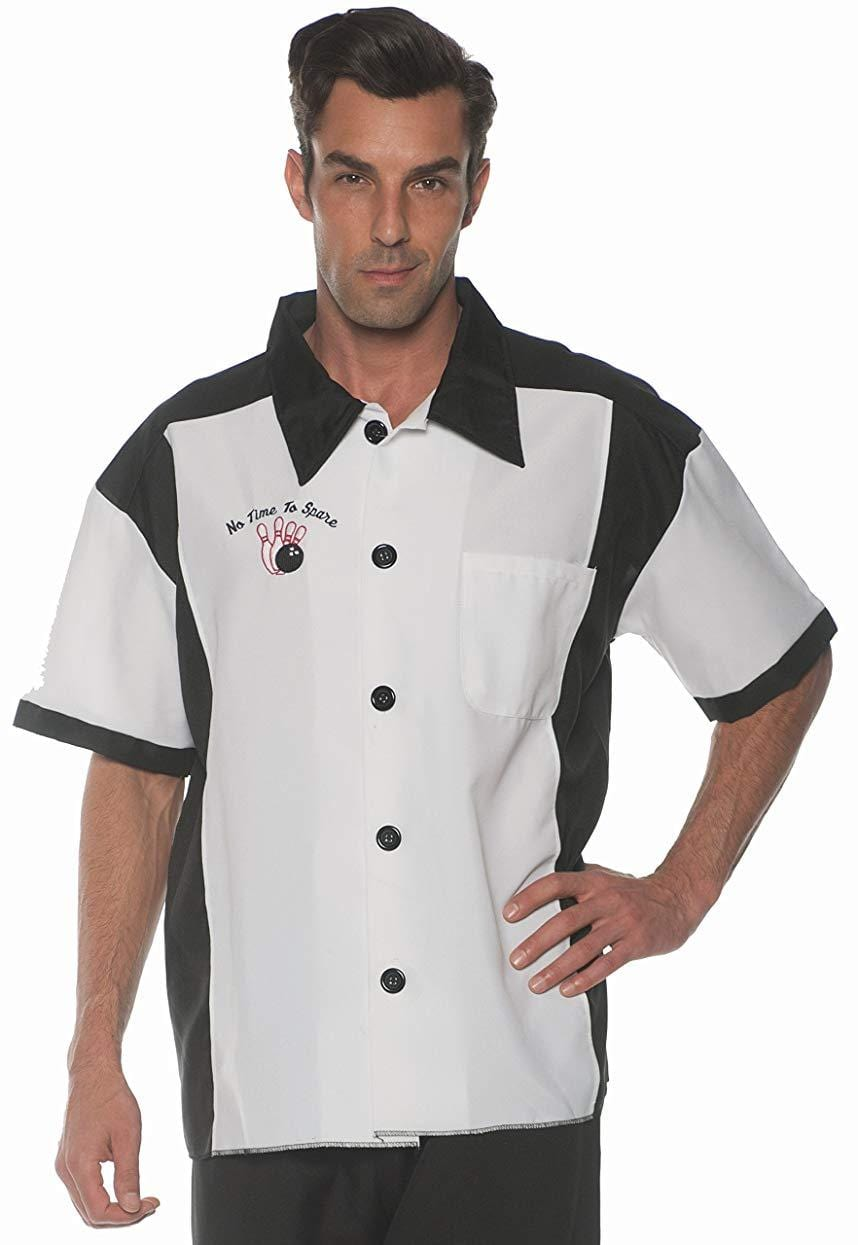 Men's Retro Bowling Costume Shirt - White - X-Large