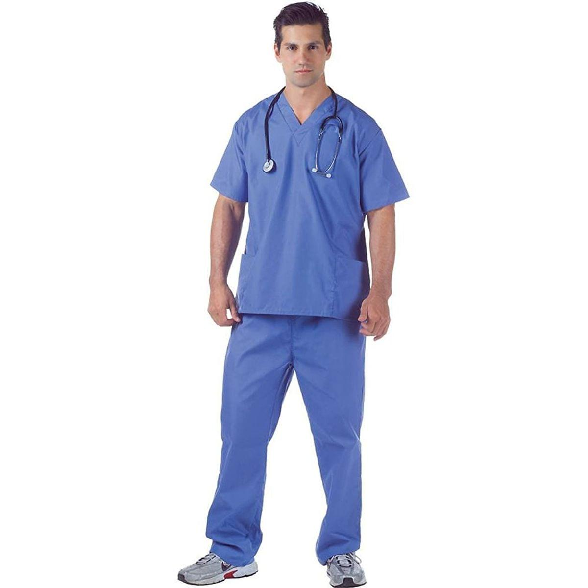 Blue Hospital Scrubs Adult Costume: One Size