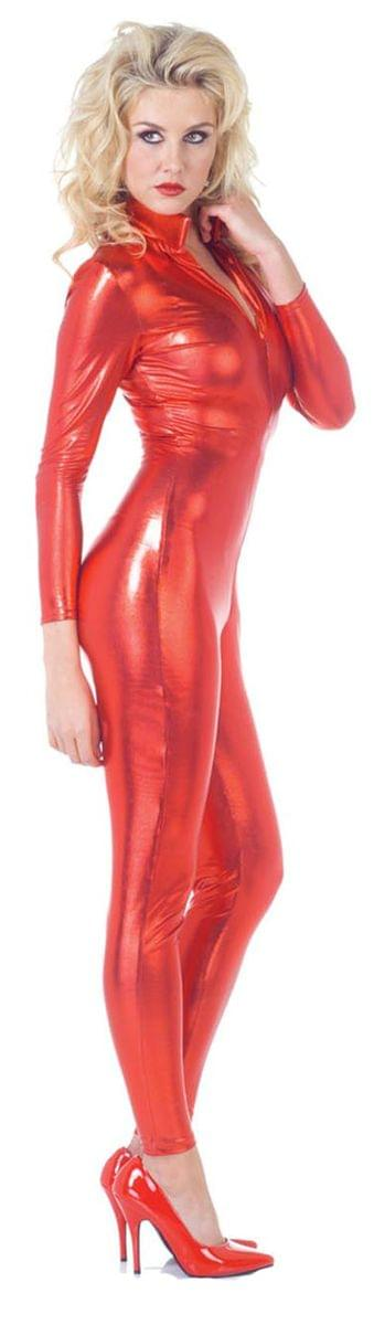 Sexy Metallic Stretch Full Body Catsuit Costume Red Adult