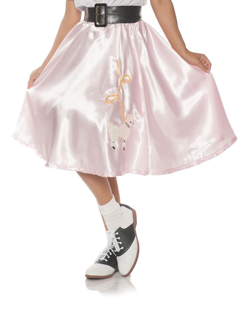 Pink Satin Costume Poodle Skirt, Small