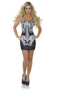 Sexy Bones Skeleton Mini Costume Dress